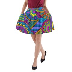 Pop Art Paisley Flowers Ornaments Multicolored A Line Pocket Skirt