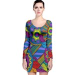 Pop Art Paisley Flowers Ornaments Multicolored Long Sleeve Velvet Bodycon Dress