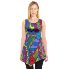 Pop Art Paisley Flowers Ornaments Multicolored Sleeveless Tunic
