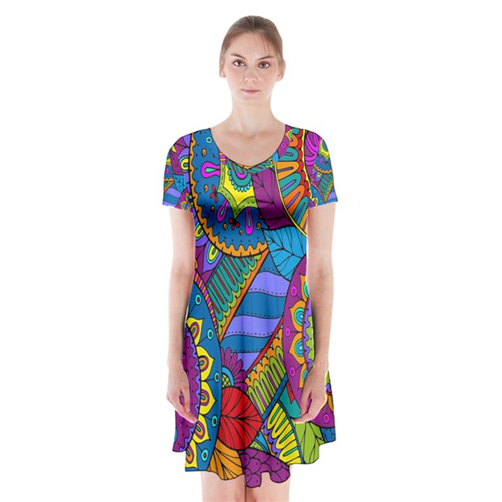 Pop Art Paisley Flowers Ornaments Multicolored Short Sleeve V-neck Flare Dress