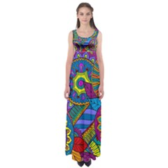 Pop Art Paisley Flowers Ornaments Multicolored Empire Waist Maxi Dress by EDDArt