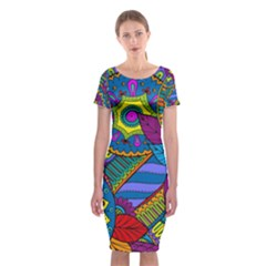 Pop Art Paisley Flowers Ornaments Multicolored Classic Short Sleeve Midi Dress