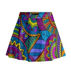 Pop Art Paisley Flowers Ornaments Multicolored Mini Flare Skirt by EDDArt