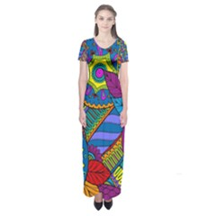 Pop Art Paisley Flowers Ornaments Multicolored Short Sleeve Maxi Dress