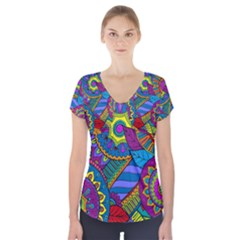 Pop Art Paisley Flowers Ornaments Multicolored Short Sleeve Front Detail Top