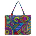 Pop Art Paisley Flowers Ornaments Multicolored Medium Tote Bag View1