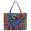 Pop Art Paisley Flowers Ornaments Multicolored Medium Zipper Tote Bag View1