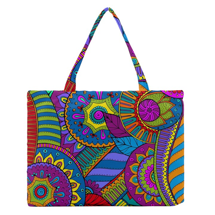 Pop Art Paisley Flowers Ornaments Multicolored Medium Zipper Tote Bag