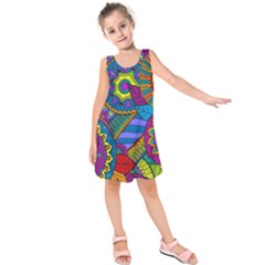 Pop Art Paisley Flowers Ornaments Multicolored Kids  Sleeveless Dress
