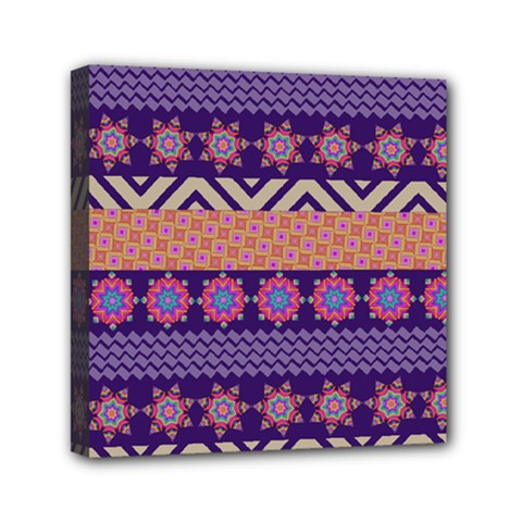 Colorful Winter Pattern Mini Canvas 6  x 6  by DanaeStudio