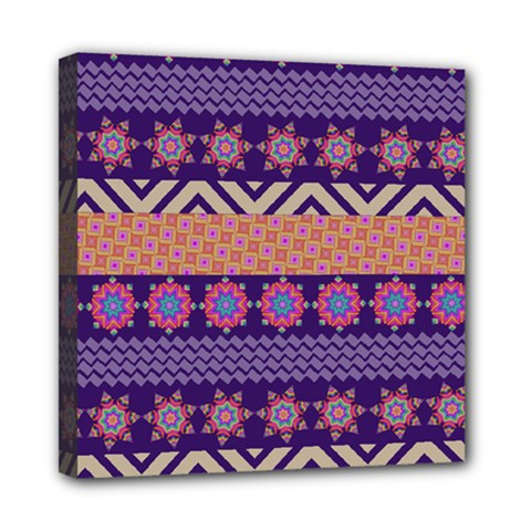 Colorful Winter Pattern Mini Canvas 8  X 8  by DanaeStudio