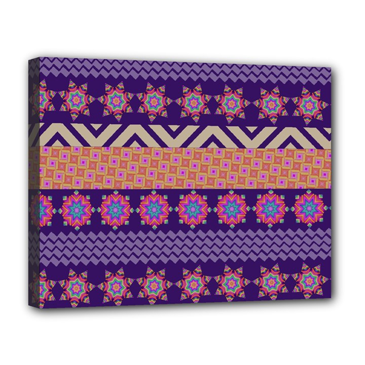 Colorful Winter Pattern Canvas 14  x 11
