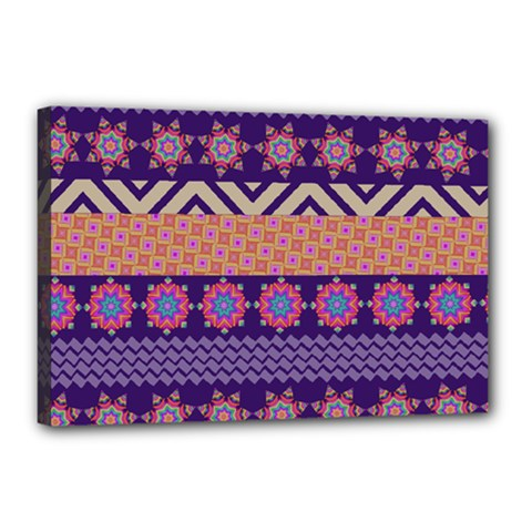 Colorful Winter Pattern Canvas 18  x 12  by DanaeStudio