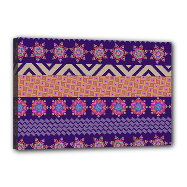Colorful Winter Pattern Canvas 18  x 12