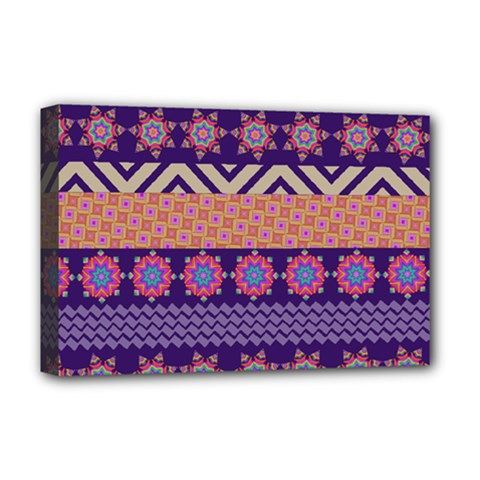 Colorful Winter Pattern Deluxe Canvas 18  X 12   by DanaeStudio