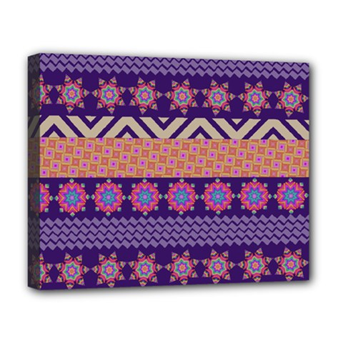 Colorful Winter Pattern Deluxe Canvas 20  X 16   by DanaeStudio