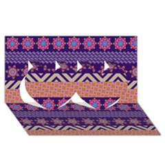 Colorful Winter Pattern Twin Hearts 3d Greeting Card (8x4) by DanaeStudio