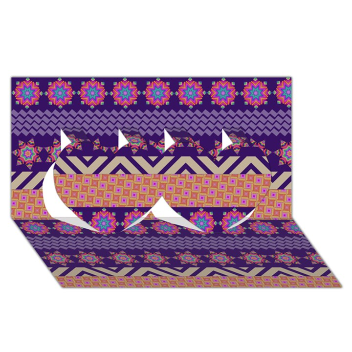 Colorful Winter Pattern Twin Hearts 3D Greeting Card (8x4)