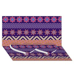 Colorful Winter Pattern Twin Heart Bottom 3d Greeting Card (8x4)