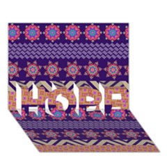 Colorful Winter Pattern Hope 3d Greeting Card (7x5) by DanaeStudio