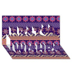 Colorful Winter Pattern Best Wish 3d Greeting Card (8x4) by DanaeStudio
