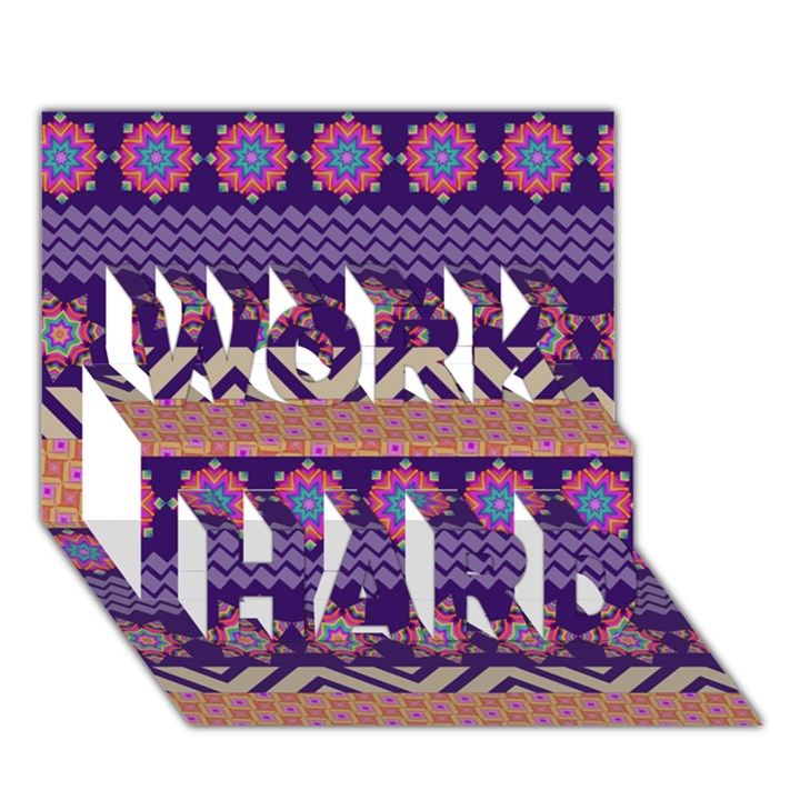 Colorful Winter Pattern WORK HARD 3D Greeting Card (7x5)