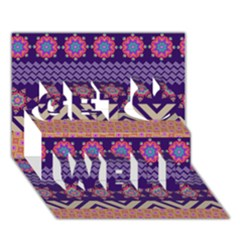 Colorful Winter Pattern Get Well 3d Greeting Card (7x5)