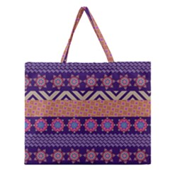 Colorful Winter Pattern Zipper Large Tote Bag by DanaeStudio