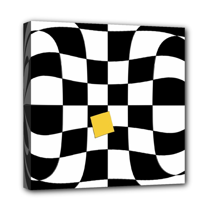 Dropout Yellow Black And White Distorted Check Mini Canvas 8  x 8