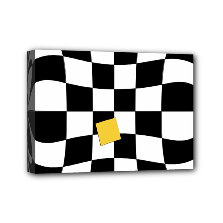 Dropout Yellow Black And White Distorted Check Mini Canvas 7  x 5