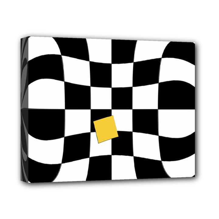Dropout Yellow Black And White Distorted Check Canvas 10  x 8