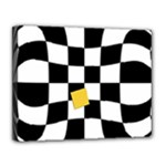 Dropout Yellow Black And White Distorted Check Canvas 14  x 11