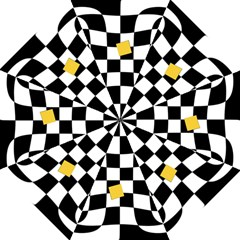 Dropout Yellow Black And White Distorted Check Folding Umbrellas by designworld65