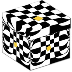 Dropout Yellow Black And White Distorted Check Storage Stool 12   by designworld65