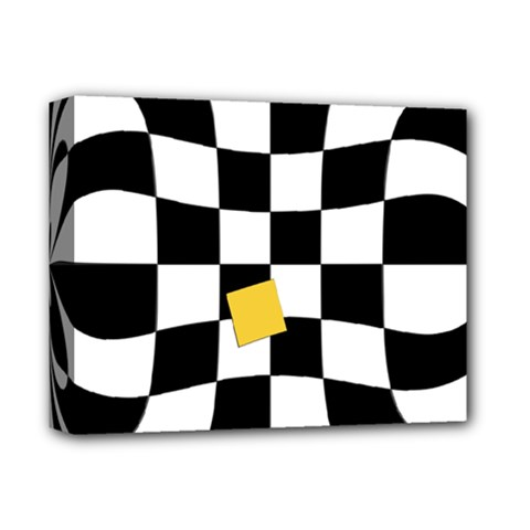 Dropout Yellow Black And White Distorted Check Deluxe Canvas 14  X 11
