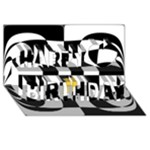Dropout Yellow Black And White Distorted Check Happy Birthday 3D Greeting Card (8x4)