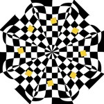 Dropout Yellow Black And White Distorted Check Hook Handle Umbrellas (Medium)