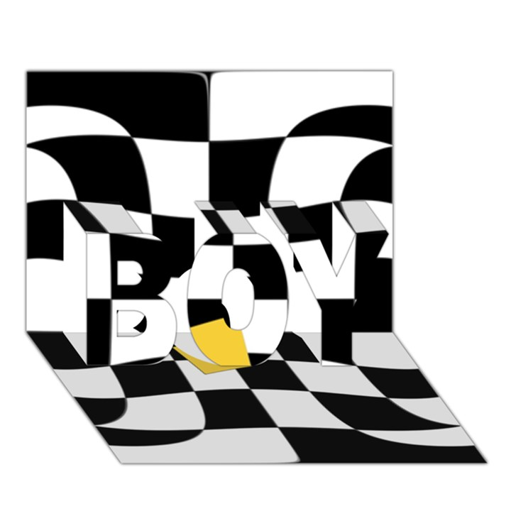 Dropout Yellow Black And White Distorted Check BOY 3D Greeting Card (7x5)