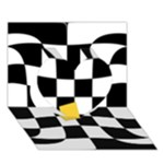 Dropout Yellow Black And White Distorted Check Heart 3D Greeting Card (7x5)