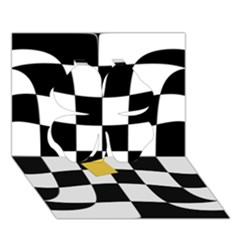 Dropout Yellow Black And White Distorted Check Clover 3d Greeting Card (7x5) by designworld65