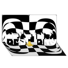 Dropout Yellow Black And White Distorted Check Best Bro 3d Greeting Card (8x4) by designworld65