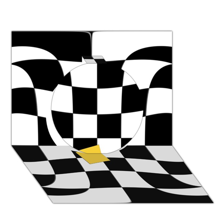 Dropout Yellow Black And White Distorted Check Circle 3D Greeting Card (7x5)