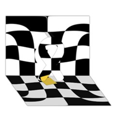 Dropout Yellow Black And White Distorted Check Ribbon 3d Greeting Card (7x5) by designworld65
