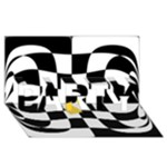 Dropout Yellow Black And White Distorted Check PARTY 3D Greeting Card (8x4)