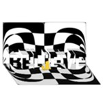 Dropout Yellow Black And White Distorted Check BELIEVE 3D Greeting Card (8x4)