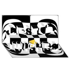 Dropout Yellow Black And White Distorted Check Best Wish 3d Greeting Card (8x4) by designworld65
