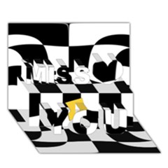 Dropout Yellow Black And White Distorted Check Miss You 3d Greeting Card (7x5) by designworld65