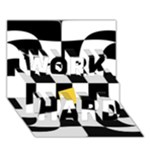 Dropout Yellow Black And White Distorted Check WORK HARD 3D Greeting Card (7x5)