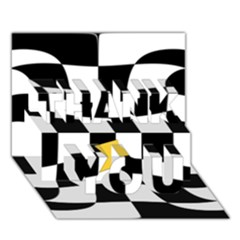 Dropout Yellow Black And White Distorted Check Thank You 3d Greeting Card (7x5) by designworld65