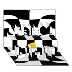 Dropout Yellow Black And White Distorted Check You Did It 3d Greeting Card (7x5) by designworld65